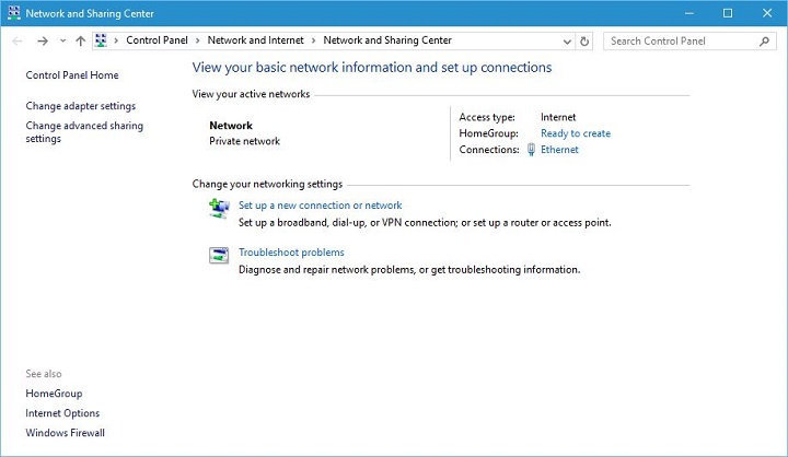 network and sharing center windows 10